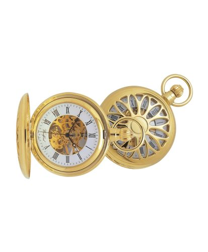 Mechanical Gold Plated Pierced Pocket Watch With Chain